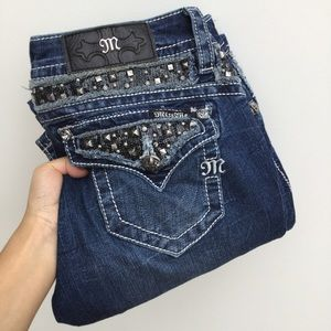Miss Me Embellished Sequin Boot Cut Jeans 27 Blue